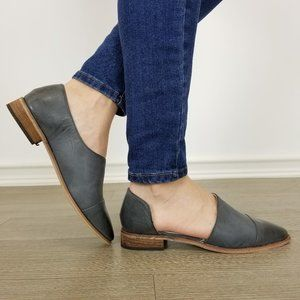 Charcoal Opened Side Pointy Slip On Flat Loafer